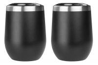 Black Stemless Wine Glasses - 2 Pack