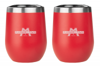 Red Stemless Wine Glasses - 2 Pack